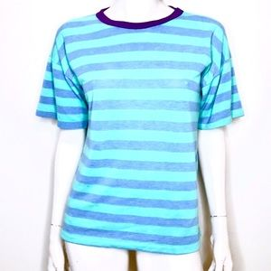 Vintage 90s pastel green and blue striped t shirt